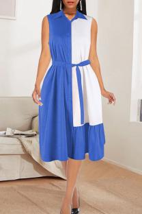 Sky Blue Casual Solid Split Joint Turndown Collar Cake Skirt Dresses