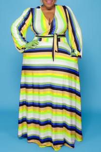 Yellow Casual Striped Print Bandage Split Joint V Neck Straight Plus Size Dresses