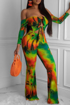 Multi-color Sexy Print Tie Dye Hollowed Out Split Joint Off the Shoulder Straight Jumpsuits