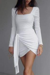 White Celebrities Solid Bandage Split Joint Asymmetrical U Neck Pencil Skirt Dresses