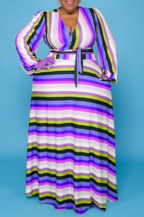 Blue Casual Striped Print Bandage Split Joint V Neck Straight Plus Size Dresses