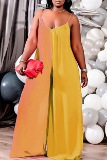 Yellow Sexy Solid Split Joint Spaghetti Strap Plus Size Jumpsuits