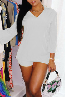 White Casual Solid Split Joint Turtleneck Three Quarter Two Pieces