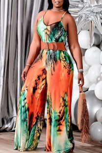 Fluorescent Yellow Casual Print Split Joint Spaghetti Strap Plus Size Jumpsuits(Without Belt)