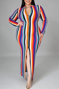 Pink Sexy Striped Print Split Joint Slit Zipper Zipper Collar Pencil Skirt Plus Size Dresses