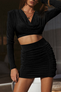 Black Celebrities Solid Split Joint Fold V Neck Long Sleeve Two Pieces