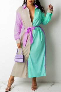 Light Green Casual Solid Split Joint Buckle  Contrast Turndown Collar Shirt Dress Dresses
