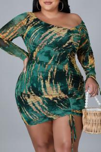 Green Sexy Print Split Joint Draw String Fold Asymmetrical Collar Pencil Skirt Plus Size Dresses