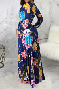 Blue Sexy Print Split Joint V Neck Straight Dresses