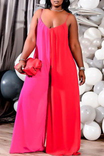 Red Sexy Solid Split Joint Spaghetti Strap Plus Size Jumpsuits