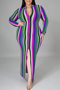 Light Blue Sexy Striped Print Split Joint Slit Zipper Zipper Collar Pencil Skirt Plus Size Dresses
