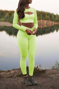 Fluorescent Green Sportswear Solid Hollowed Out O Neck Long Sleeve Two Pieces