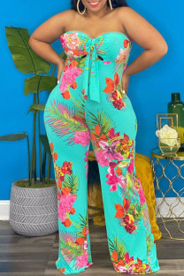 Green Sexy Print Hollowed Out Asymmetrical Strapless Plus Size Jumpsuits