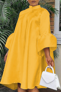 Yellow Casual Solid Flounce O Neck Cake Skirt Dresses