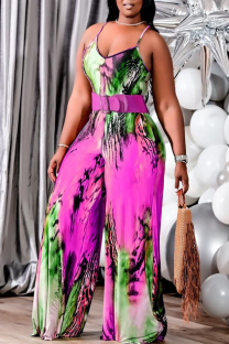 Pink Casual Print Split Joint Spaghetti Strap Plus Size Jumpsuits(Without Belt)
