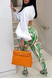 Orange Sexy Casual Print Bandage Turndown Collar Long Sleeve Two Pieces