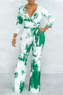 Green Casual Print Solid Tie Dye Bandage Split Joint V Neck Straight Jumpsuits