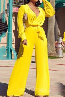 Yellow Elegant Solid Split Joint V Neck Straight Jumpsuits