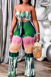 Green Sexy Print Bandage Tie-dye Strapless Plus Size Two Pieces