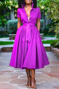 Purple Casual Solid Split Joint Buttons Turndown Collar Shirt Dress Dresses