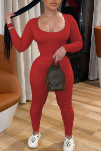 Red Sexy Solid Split Joint U Neck Long Sleeve Two Pieces