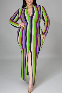 Light Green Sexy Striped Print Split Joint Slit Zipper Zipper Collar Pencil Skirt Plus Size Dresses