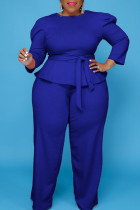 Blue Casual Solid Bandage Split Joint O Neck Plus Size Two Pieces