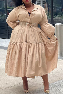 Khaki Casual Solid Split Joint Turndown Collar Cake Skirt Plus Size Dresses (Without Belt)