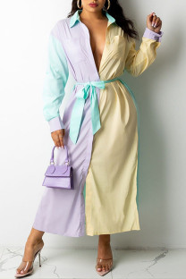 Yellow Casual Solid Split Joint Buckle  Contrast Turndown Collar Shirt Dress Dresses