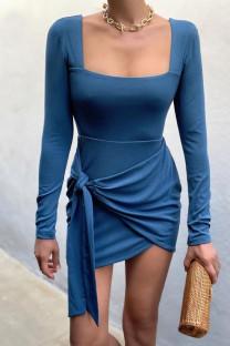 Lake Blue Celebrities Solid Bandage Split Joint Asymmetrical U Neck Pencil Skirt Dresses
