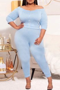 Light Blue Casual Solid Split Joint Zipper Off the Shoulder Three Quarter Two Pieces