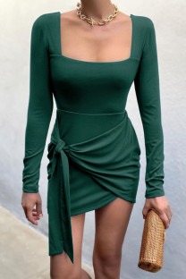 Ink Green Celebrities Solid Bandage Split Joint Asymmetrical U Neck Pencil Skirt Dresses