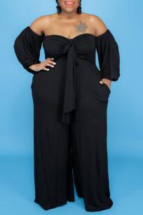 Black Sexy Solid Bandage Split Joint Off the Shoulder Plus Size Jumpsuits
