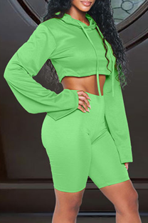 Green Casual Solid Split Joint Hooded Collar Long Sleeve Two Pieces