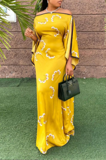 Yellow Casual Print Split Joint Strapless Straight Dresses