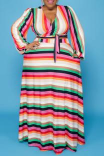 Pink Casual Striped Print Bandage Split Joint V Neck Straight Plus Size Dresses