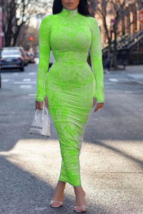 Fluorescent Green Sexy Print Split Joint Turtleneck Pencil Skirt Dresses
