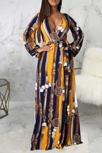 Yellow Sexy Print Split Joint V Neck Straight Dresses
