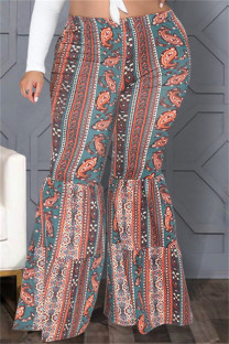 Multicolor Fashion Casual Print Basic Plus Size High Waist Trousers