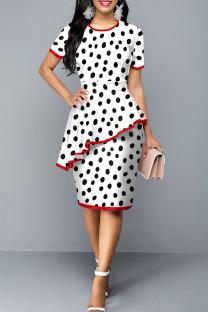 White Elegant Print Polka Dot Split Joint Flounce O Neck Short Sleeve Dress Dresses