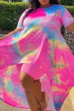Pink Casual Print Tie Dye Asymmetrical O Neck Plus Size Two Pieces