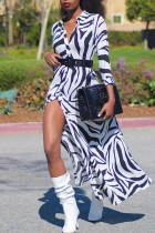 Zebra Casual Print Zebra Print Split Joint Buckle Turndown Collar Shirt Dress Dresses