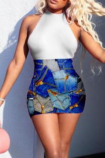 White Sexy Print Split Joint Backless Halter Pencil Skirt Dresses