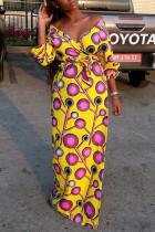 Yellow Fashion Casual Print Basic V Neck Long Sleeve Dresses