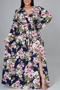 Tibetan Blue Sweet Print Bandage Hollowed Out Split Joint V Neck Straight Plus Size Dresses