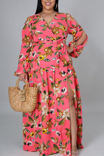 Pink Sweet Print Bandage Hollowed Out Split Joint V Neck Straight Plus Size Dresses