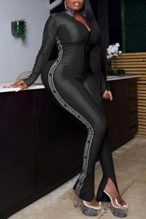 Black Sexy Print Split Joint Turndown Collar Skinny Jumpsuits
