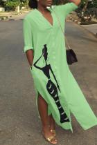 Green Fashion Cap Sleeve Long Sleeves V Neck Step Skirt Mid-Calf Print