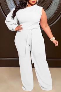 White Sexy Solid Split Joint Oblique Collar Plus Size Jumpsuits