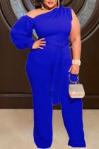 Blue Sexy Solid Split Joint Oblique Collar Plus Size Jumpsuits